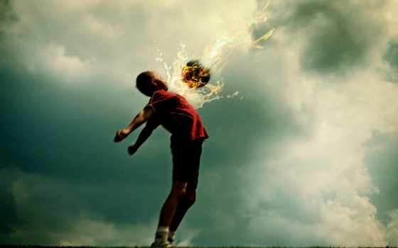 мальчик, футбол, огонь, мяч, фотожаба