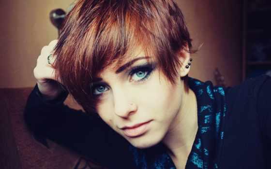 голубые, глаза, волосы