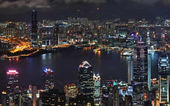 небоскребы, ночь, город