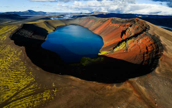 озеро, вулкан, гора
