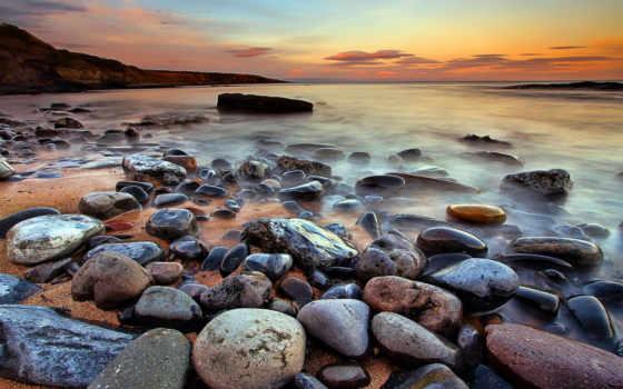 камни, море, берег, закат, landscape, parede, oceano, tapetes,