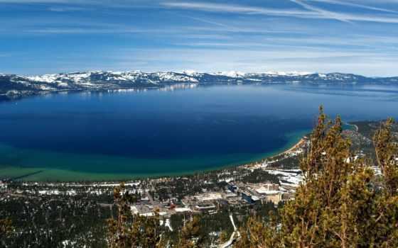 природа, горы, landscape, небо, снег, море, trees, oblaka, лес,