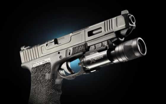 glock, пистолет, pistol, близко, black, оружие, армия, фонарик, самозарядный, австрия, austrian