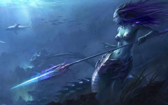 русалка, водой, под, акулы, арт, копьё, серена, anubis, рыбы, профиль, картинка, магия, картинку,
