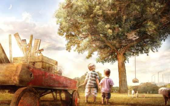 дерево, детство, дружба