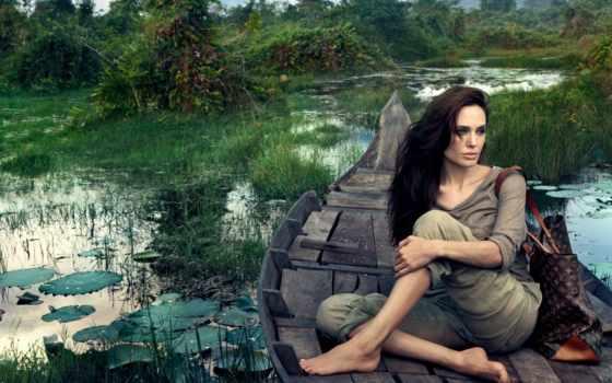 девушка, лодке, девушки, река, трава, jolie, angelina,