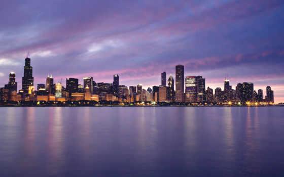 chicago, город, огни