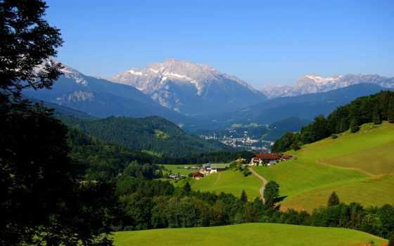 горы, деревня, луг