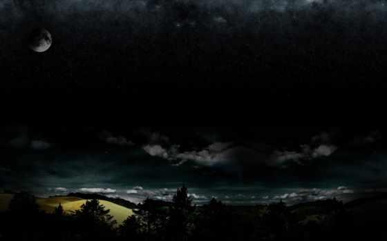 ночь, darkness, звезды, полнолуние, лес, oblaka,