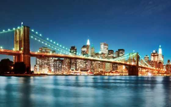 нью, york, сша, new, бруклин, мост, город,