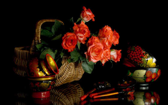 хохлома, cvety, посуда, узоры, розы, русская, букет, корзина,