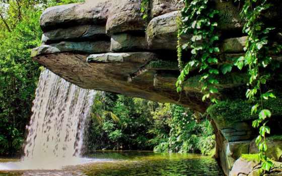 водопад, природа, камни, озеро, листва, страница, водопады, скинали, фоны,