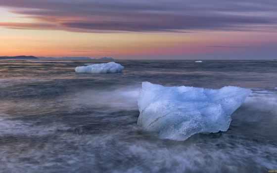 закат, iceberg, winter, free, desktop, iceland, ocean,