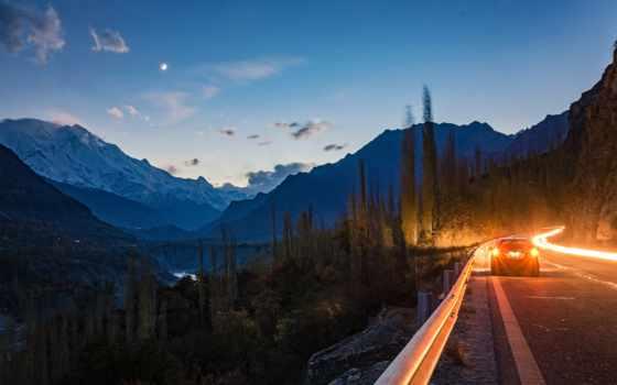 дороги, дорога, широкоформатные, природа, картинку, вечер, горы, pakistan, hunza,