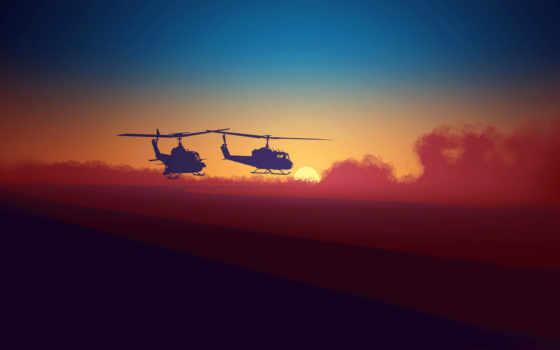 небо, закат, военный, вертолет, bell, uh,