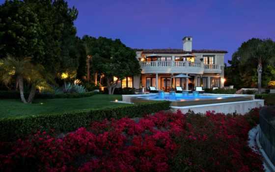 пальмы, villa, бассейн, newport, house, вечер, города, palm, шезлонги,