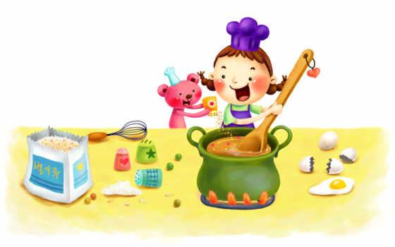 нарисованные, девочка, медвежонок, кухня, звёздочки, венчик, посуда, яйца, скорлупа,
