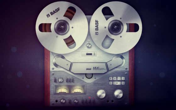 магнитофон, звук, лента, диски, кассеты,