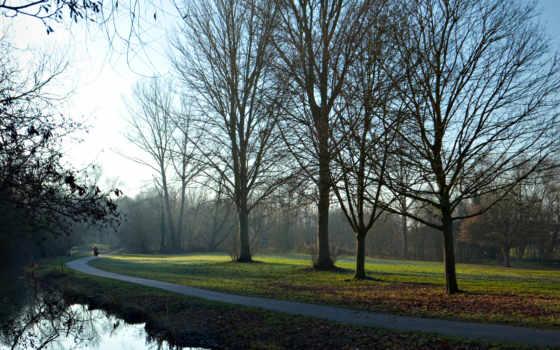 дорога, аллея, светлясок, руках, деревьев, природа, пейзажи -, trees, девочки,