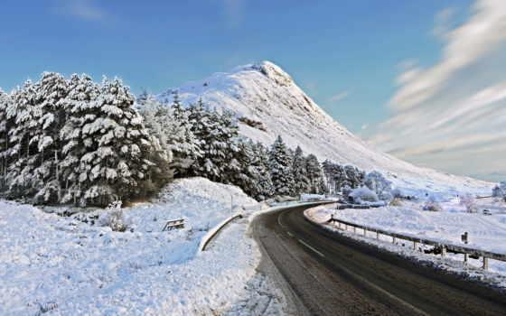 дорога, winter, горы, снег, заснеженной, горах, асфальт,