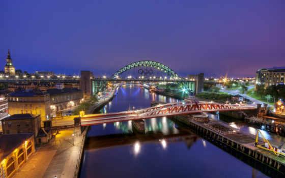ночь, город, англия, мост, река, gateshead, london, ук, огни,