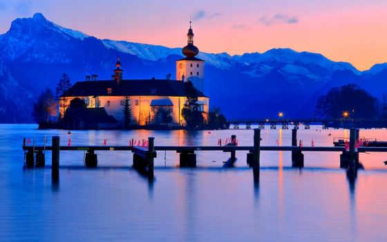 traunsee, gmunden, австрия, озеро, mountains, альпы, imagini, город,