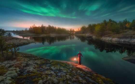 aurora, landscape, nikon, borealis, озеро, tech, природа, снег