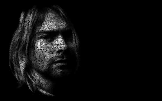nirvana, гранж, чёрный, temnota, kurt, cobain, лицо, курта, кобейн, muzyka