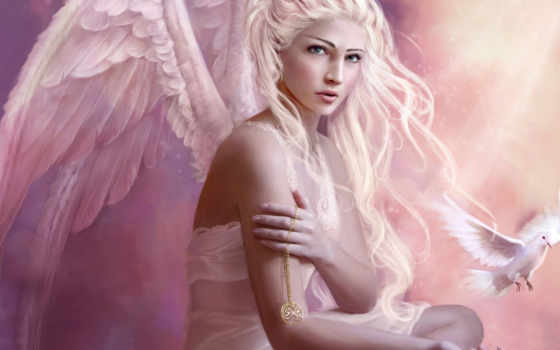 angel, girl, fantasy, крылья, фэнтези, anime, duvar, desktop, блондинка,