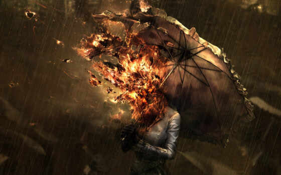 , picture, download, woman, save, fire, head, graphic, desktop, rainy, days, under, tags, sur,