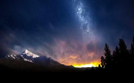 небо, ночное, ночь, звездное, pinterest, горы,