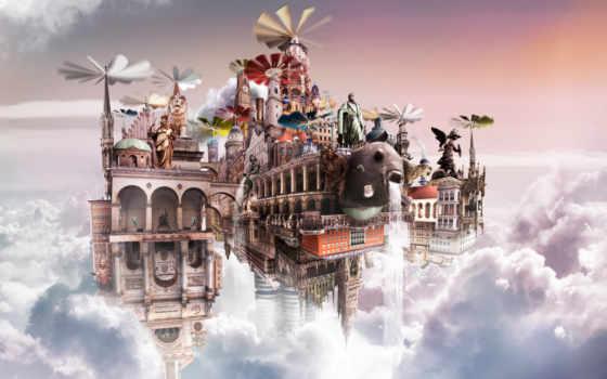castle, облаках, графика