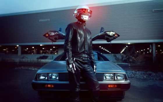 daft, punk, desktop, delorean, car, шлем, авто,