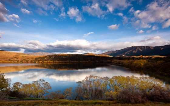 новая, zealand, озеро, осенняя, oblaka, степь,