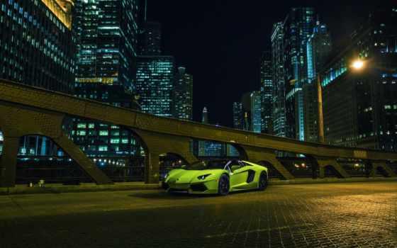 lamborghini, aventador, roadster, chicago, side, downtown, взгляд, суперкар, зелёный,