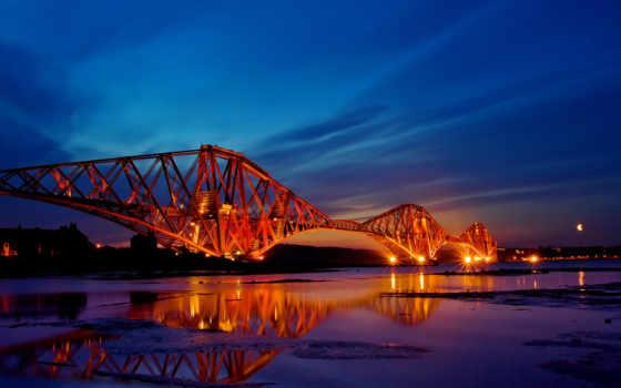 прочие, firth, мост, scotl, ночь, pont, шотландия,