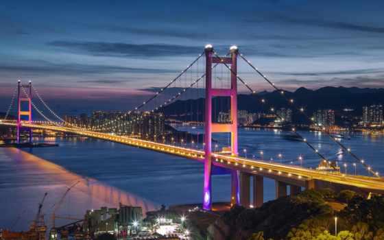 ночь, море, мост, города, hong, город, красивые, android, есть, увеличить, гонконг,