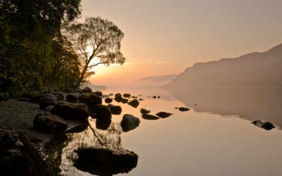 река, камни, горы, небо, туман, лес, sun, дымка, природа,