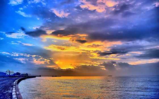 небо, пейзажи -, sun, закат, поле, landscape, море, берег, pier,