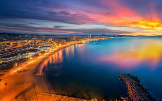 барселона, испания, город, закат, sun, панорама, пляж, уж, небо