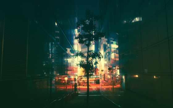 япония, ночь, neon, улица
