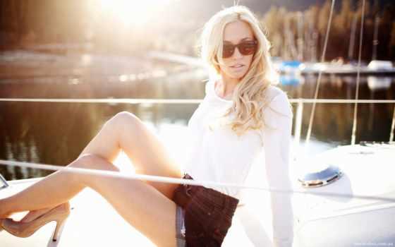 яхта, девушка, блондинка