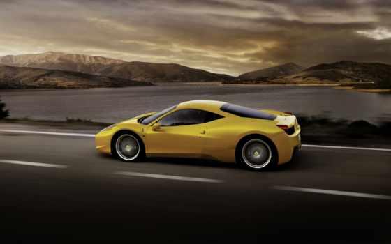 ferrari, italia, авто, yellow, сбоку, вид, скорость, взгляд,