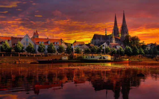 германия, landscape, город, города, закат, регенсбург,