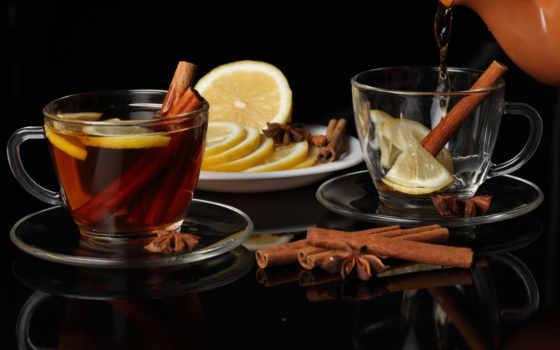 напитки, еда, картинка, cup, блюдце, чая, лимоны, cinnamon,