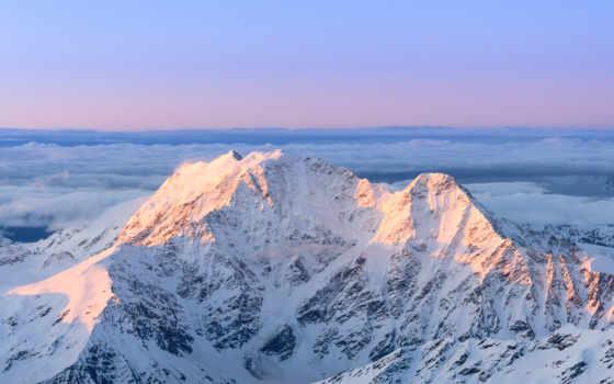 природа, горы, glacier, full, небо, море, снег, коллекция,