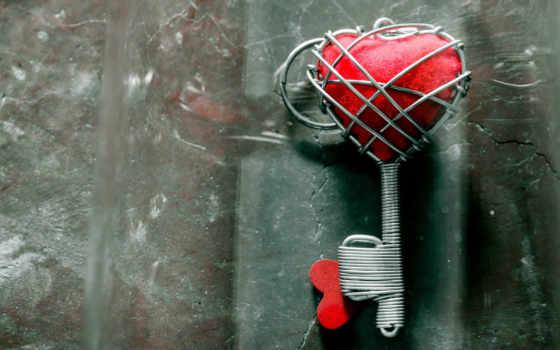 amor, chave, coração, corazón, sobre, сердце, plano, gran, imagen,
