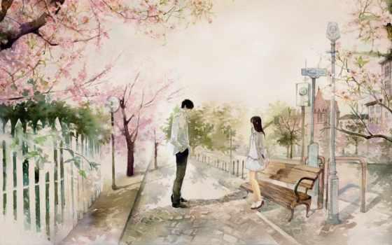 девушка, art, парень, love, Сакура, город,, drawing,