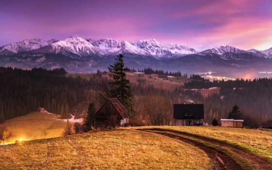 hill, дома, горы