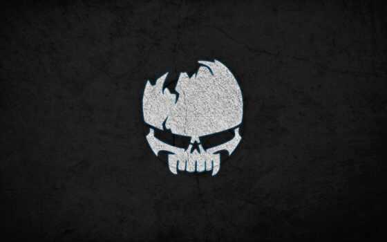 logo, pantalla, fondo, череп, game